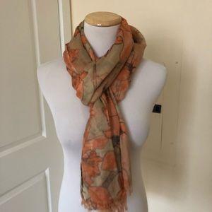 Banana Republic orange and tan lightweight scarf